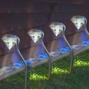 Lot de 4 DEL Energie Solaire Diamant Jeu Lumières Garden Outdoor Summer Lampe