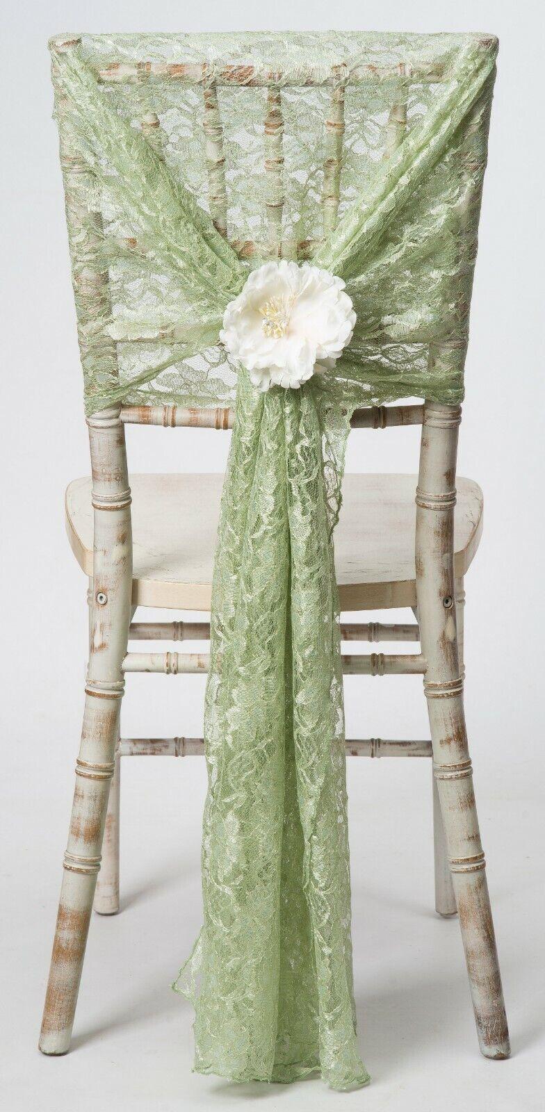Vert Sauge lacet Chaise Hottes 73.7cmx178cm Evénement Mariage Décor