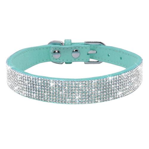 Rhinestone Diamante Dog Collar Soft Suede Small Pet Puppy Doggie Show Necklace