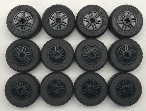 Solid VR Tires 18x14 wheel with axle pin 12 Lego 30.4 x 14 Black Wheels Lot