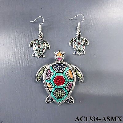 Silver Finish Multi Color Animal Sea Turtle Necklace Pendant with Earrings Set