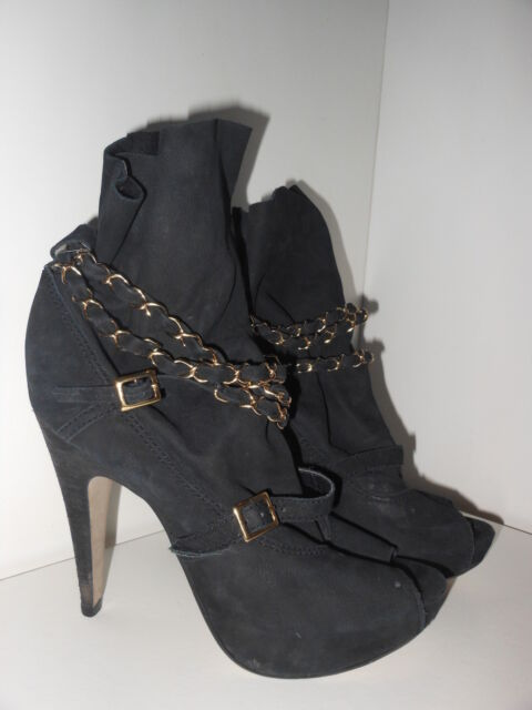 Topshop Anya2 suede peep toe chain platform boots Size 6 39