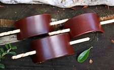 HANDMADE BROWN LEATHER HAIR BARRETTE / PIN / CLIP / SLIDE - MEDIUM SIZE