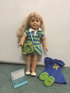 "Retired American Girl Lanie 2010 Girl of the Year 18"" Doll + Orig Dress & Shoes"