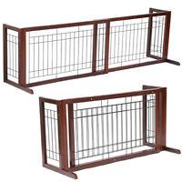 Indoor Pet Fence Gate Free Standing Adjustable Dog Gate Solid Wood Construction
