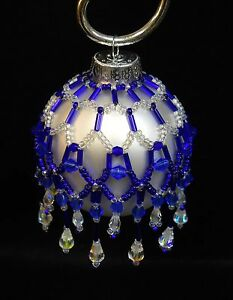 PATTERN-ONLY-Beaded-Christmas-Ornament-Cover-Holiday-Original-034-Cobalt-Magic-034