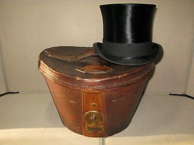 Antico Vintage In Pelle Top Hat Caso Ascot-mostra Il Titolo Originale