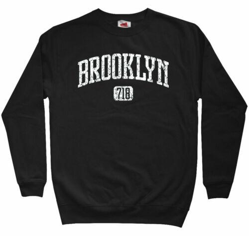 Brooklyn 718 Sweatshirt Men S to 3XL Area Code BKNY NYC Park Slope Crewneck