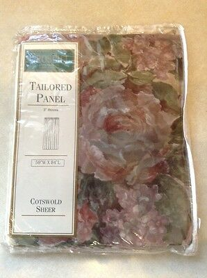 "Croscill Cotswold Sheer Tailored Panel, 59"" W x 84"" L, Floral, NEW"