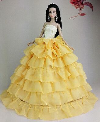 Yellow Fashion Princess Dress Clothes/Gown For Barbie Doll U124Y