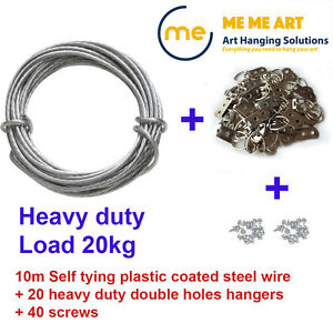 Picture Framing Heavy Duty Set Picture Hanging Wire 10m D Rings