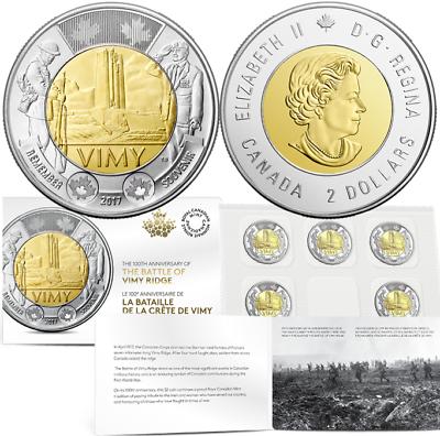 2017 100th Anniversary Battle of Vimy Ridge 5 X $2 Toonie Circulation Coin Pack