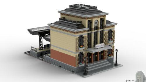 Lego u.a PDF-Bauanleitung: Bahnhof Modular Building aus Noppensteinen