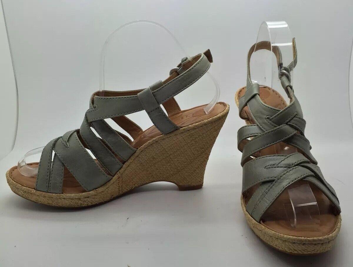 BORN Green/Grey Strappy Leather Wedge Heel Raffia Espadrille Sandals Sz 9M NEW!