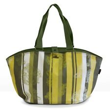 FastRider Shopper Paisley Rear Pannier Bag Green Stripe 22.5LTR