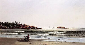 Oil painting nice rock, narragansett bay - alfred thompson bricher landscape art