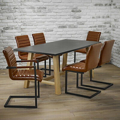 Industrial Grey Dining Table Set 6 Contemporary Tan Metal Chairs Modern Design Ebay