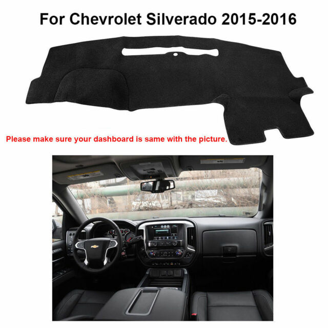 US Car Dashboard Mat Dash Cover Carpet Black for  Chevrolet Silverado 2015-2016