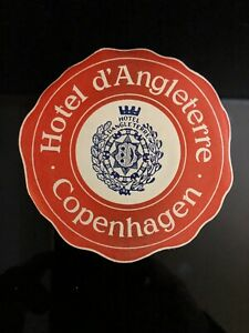 Vintage-HOTEL-d-039-ANGLETERRE-ASHTRAY-Shape-Luggage-Sticker-Copenhagen-Denmark