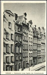 DANZIG-Gda-sk-Polen-AK-Strasse-Gebaeude-Haeuser-um-1945-Vintage-Postcard