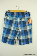 HOLLISTER MENS SHORTS W 30 CALIFORNIA SURFER BLUE CHECK BUTTON FLY VERY GOOD P23