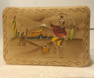 Egyptian Camel Leather Jewelry Treasure Box Handcrafted Painted Unique