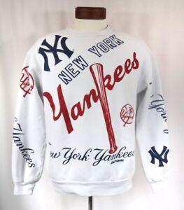 huge discount 73fa2 40154 Details about New York Yankees Sweatshirt All Over Print Logo 80's Vintage  Hip Hop Crewneck