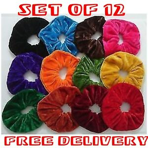 FLYINGSTART-12-LARGE-VELVETY-ELASTIC-12CM-PONYTAIL-HOLDER-HAIR-SCRUNCHIES