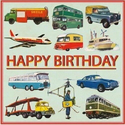 """Rétro Vintage Multicolore Transport /""""joyeux anniversaire/"""" carte 12.5x12.5cm"""