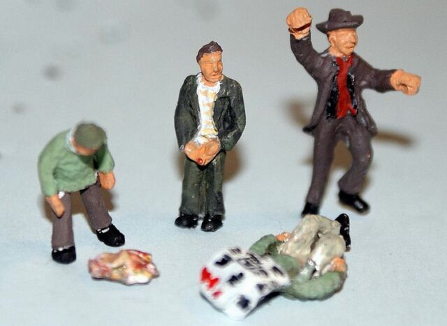 Funeral Scene 5 Figures Coffin OO Scale 1:76 Model PAINTED F64p Langley Models