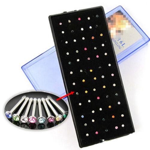 60pcs Cristal Strass Nez Anneau Goujon en Acier inoxydable Body Piercing Jewelry