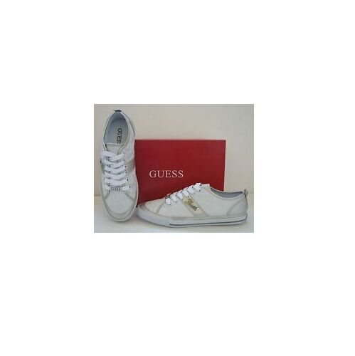 NEW-GUESS BRIAR MULTI-WEISS LOGO+SILVER LEATHERETTE SPORT Schuhe SIZE 6-9+BOX