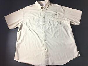 Columbia-PFG-Mens-Beige-Front-Pocket-Button-Front-Shirt-Size-2XL