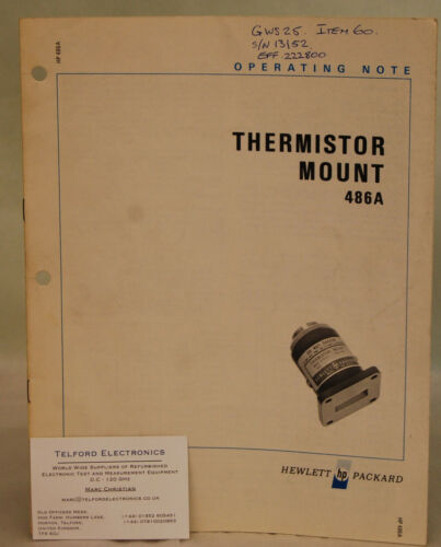 HP486A THERMISTOR MOUNT Operating notes