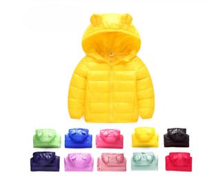 Baby Toddler Bambini Bambine Autunno Inverno Piumino Trapuntato Imbottito Cappotto Outwear