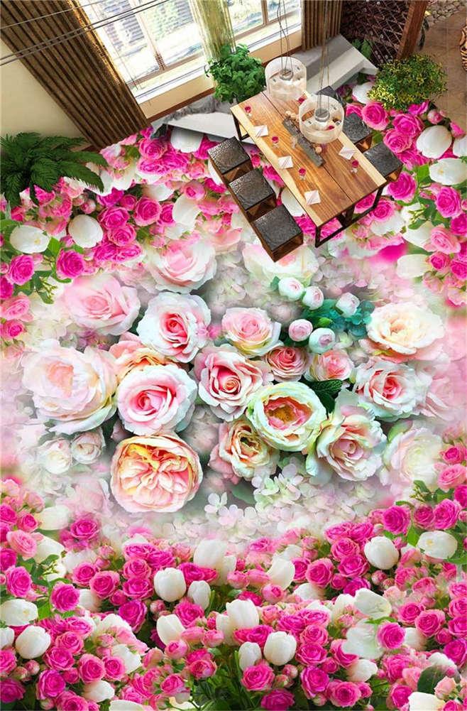 Unaffected Flower 3D Floor Mural Photo Flooring Wallpaper Home Print Decoration