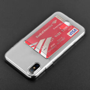 half off 830a6 6a29a Details about iPhone X / XS / 10S - TRANSPARENT CLEAR CREDIT CARD SLOT  HOLDER ULTRA THIN CASE