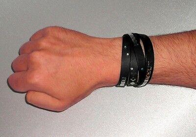 100% Wahr Wickelarmband Nietenarmband Lederarmband Schwarz Wrap Bracelet Leather Studs