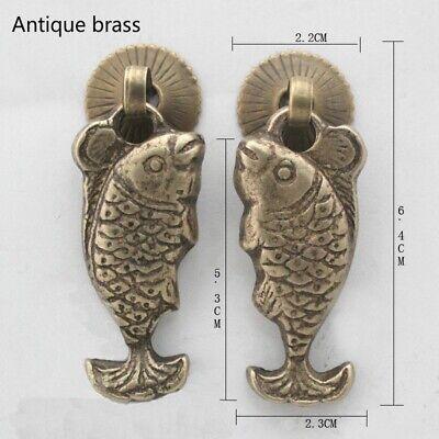 1 Pair Fish Chinese Retro Brass Handles Furniture Drawer Pulls