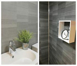 Modern Tile Effect Bathroom Wall Panels Pvc Carbon Graphite Grey Shower Panels Ebay