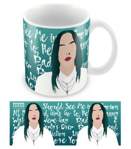 Details About Billie Eilish Mug Printed With Song Les Bad Guy Ceramic 10oz Cup