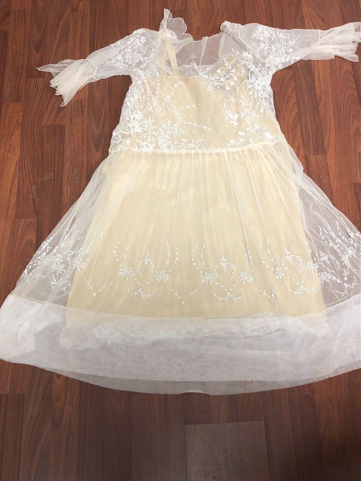 Antique Edwardian White Mesh Dress with Floral Em… - image 8
