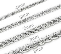 6-36 Men's Women's Stainless Steel Necklaces Wheat Chains Bracelets Fast Ship