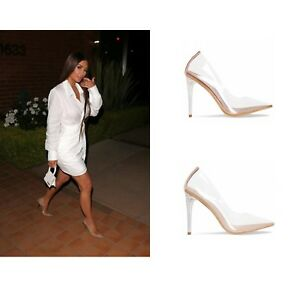 Image is loading Womens-Ladies-Perspex-Clear-Stiletto-Heel-Pointed-Toe-