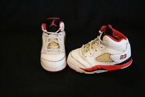 sports shoes bb2a4 9e57e Details about Nike Air Jordan Retro 5 toddler size 6c white/fire red/black  440890-120
