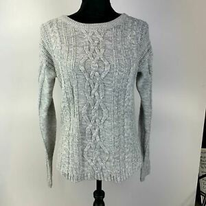 Old-Navy-Gray-Long-Sleeve-Boat-Neck-Cable-Knit-Slit-Pullover-Sweater-Womens-M