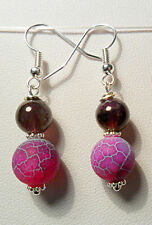 Dangle earrings - frosted Agate + Amethyst round beads