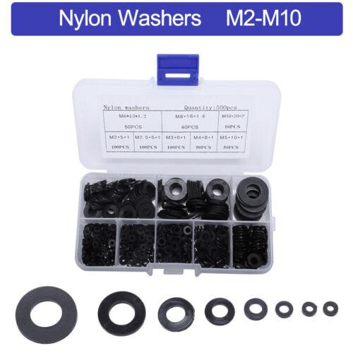 500x Nylon Schwarz Unterlegscheiben Unterlagsscheiben M2 M2.5 M3 M4 M5 M6 M8 M10