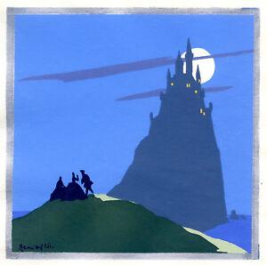 1930s-French-Pochoir-Print-Castle-in-Mist-Seascape-Moonlight-Seashore-Scene