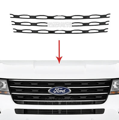 Black 2016 2017 Ford Explorer Snap On Grille Overlays Front Grill Trim Covers EBay